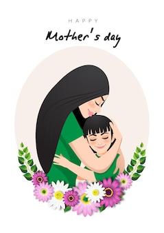 Personaggio dei cartoni animati con mamma e figlia si abbracciano in ghirlanda di fiori. illustrazione della festa della mamma
