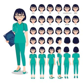 Personaggio dei cartoni animati con medico professionista in uniforme intelligente per l'animazione. anteriore, laterale, posteriore, 3-4 caratteri di visualizzazione. parti separate del corpo.