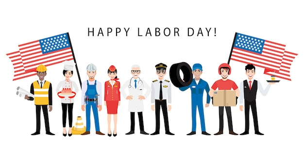 Personaggio dei cartoni animati con il lavoratore professionale nel vettore di progettazione di festa di festa del lavoro