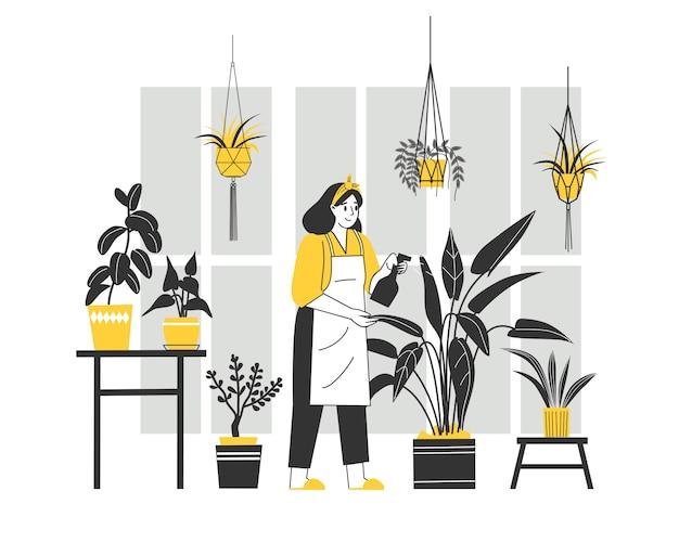 Donna del personaggio dei cartoni animati che si occupa delle piante. cartone animato piatto vettoriale interior design. illustrazione di carattere vettoriale piatto persone giardinaggio.