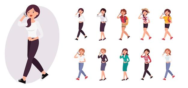 Donna di personaggio dei cartoni animati che cammina e parla sulla collezione di smart phone