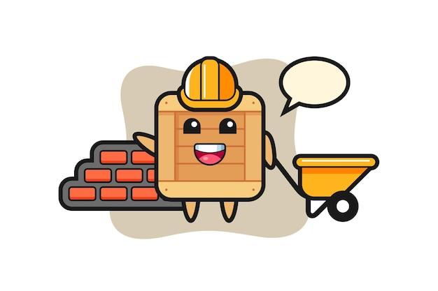 Personaggio dei cartoni animati di scatola di legno come costruttore, design in stile carino per maglietta, adesivo, elemento logo