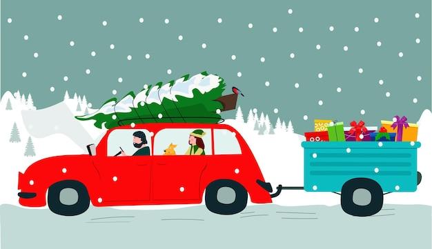 I personaggi dei cartoni animati stanno guidando in un'auto rossa, portando un albero di natale e un rimorchio con regali.