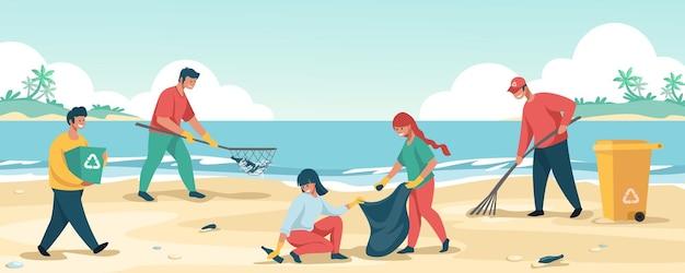 Personaggi dei cartoni animati che raccolgono spazzatura e salvano l'ambiente