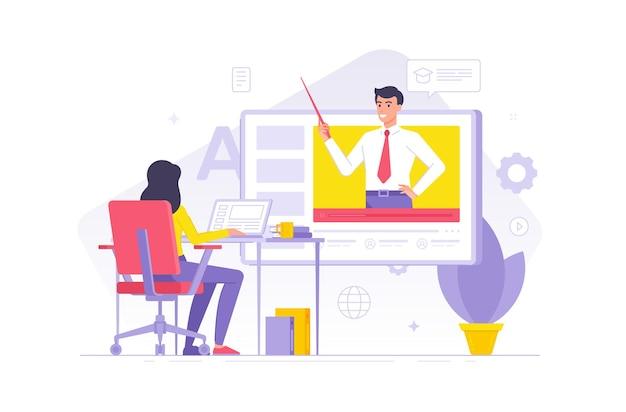 Personaggi dei cartoni animati femminile avendo lezione online con insegnante maschio