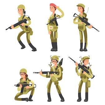 Donne soldato personaggi dei cartoni animati in varie azioni insieme vettoriale