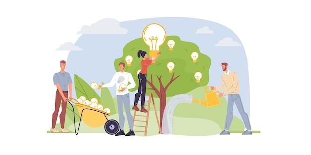 I personaggi dei cartoni animati crescono e raccolgono lampadine idea: social media, comunicazione, concept creativo per il web online, sito
