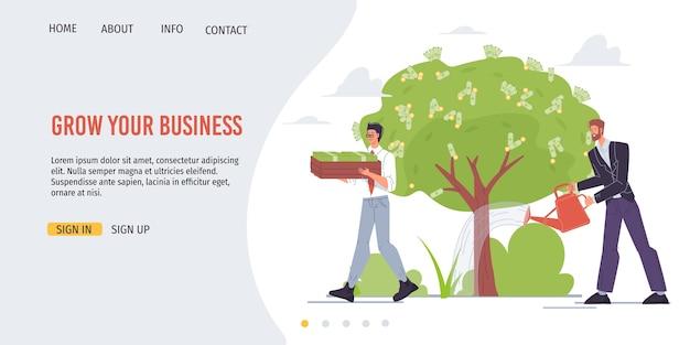 I personaggi dei cartoni animati crescono profitti e raccolgono entrate in denaro - concetto di investimento finanziario per il web online, sito