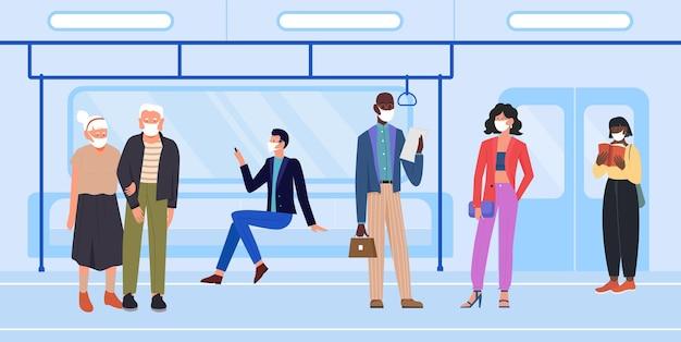 I personaggi dei cartoni animati proteggono il viso con la maschera nei trasporti pubblici