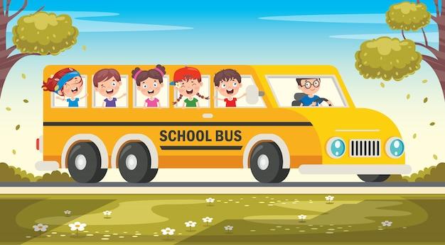 Personaggi dei cartoni animati che viaggiano con il veicolo