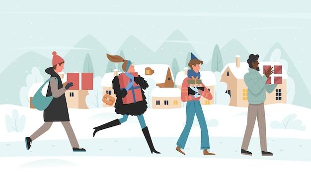 I personaggi dei cartoni animati con doni camminano corrono per il mercatino di natale
