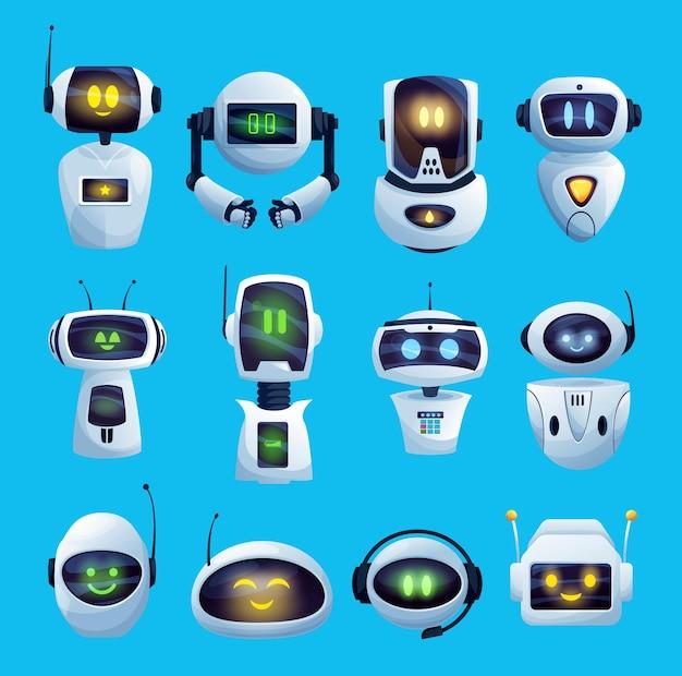 Cartoon chat bot e icone robot, personaggi cyborg