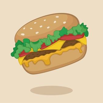 Cartone animato hamburger di formaggio galleggiante