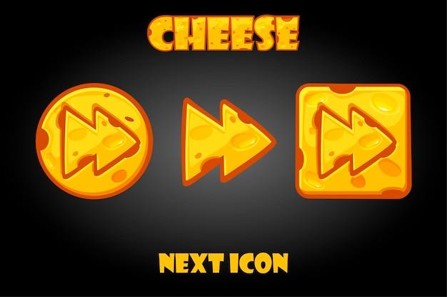 Pulsanti successivi di formaggio del fumetto per il gioco.