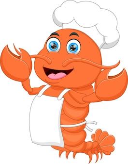 Granchio chef cartone animato isolato su sfondo bianco