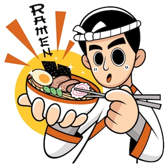 Cartoon chef japanese noodles presentating food. significati della formulazione: ramen