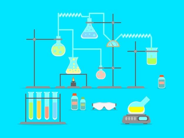 Luogo di scienza e tecnologia del laboratorio chimico del fumetto. luogo di lavoro di design in stile piatto o spazio educativo. illustrazione vettoriale