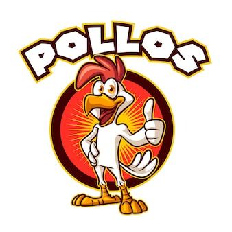 Pollo del fumetto che posa pollice sul logo della mascotte del carattere