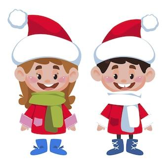 Bambini dei cartoni animati ragazzo e ragazza in costumi natalizi rossi e bianchi personaggi vettoriali in baby