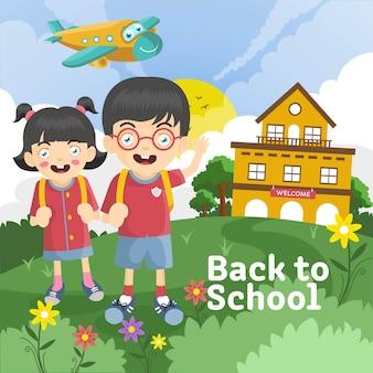 Bambini del fumetto ragazzo e ragazza che tornano a scuola