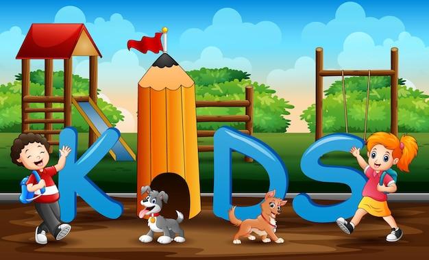 Cartoon i bambini si divertono con i loro animali domestici