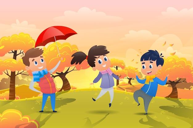 I bambini del fumetto giocano l'illustrazione di autunno