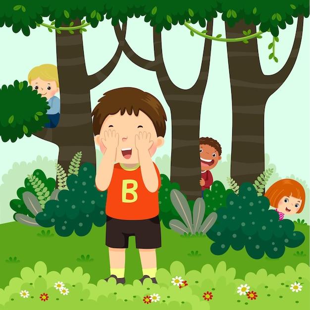 Cartone animato di bambini che giocano a nascondino nel parco