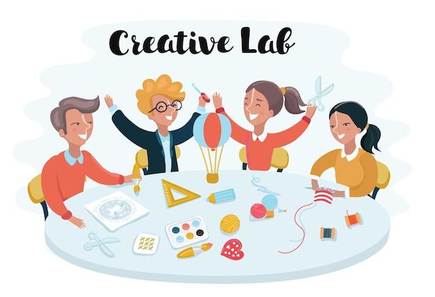 Bambini dei cartoni animati che studiano alla scrivania e creano oggetti creativi in officina. ragazzi e ragazze intelligenti e geniali.