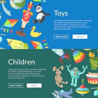 Illustrazione dei modelli dell'insegna di web dei giocattoli dei bambini del fumetto