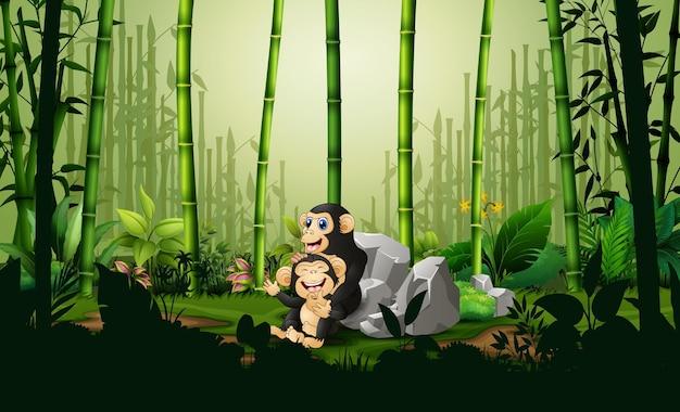Cartone animato uno scimpanzé con il suo cucciolo nella foresta di bambù