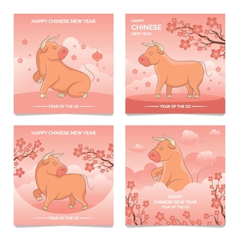 Cartolina d'auguri di nuovo anno cinese 2021 del fumetto