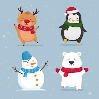 Collezione di personaggi dei cartoni animati di natale Vettore Premium