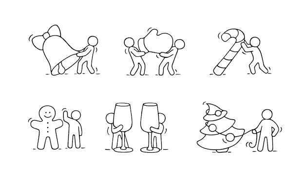 Set di icone di natale del fumetto di schizzo lavorando piccole persone con simboli di partito. disegnato a mano per la celebrazione di natale e capodanno.