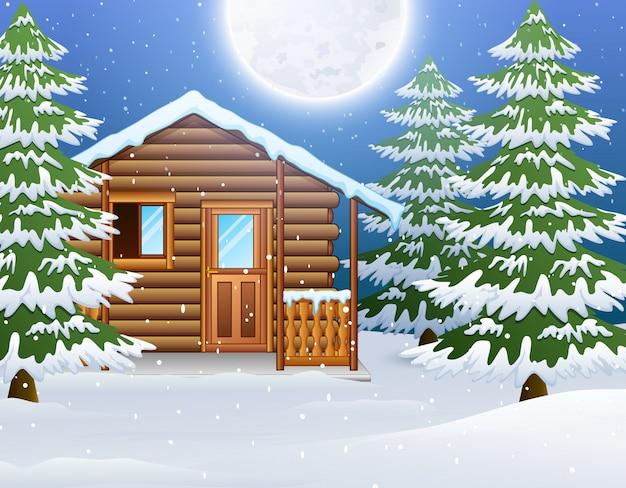 Cartone animato di casa in legno di natale con abeti