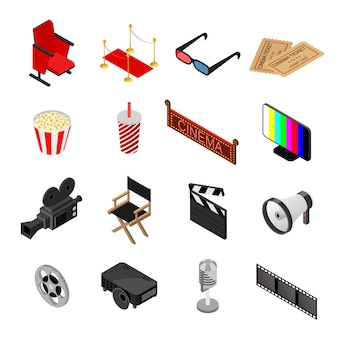 Cartoon cinema color icons set movie element for web design