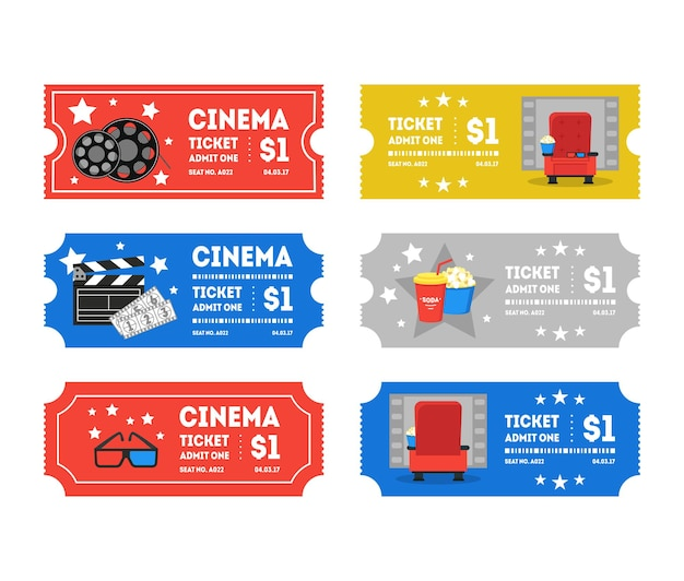 Biglietti per il cinema del fumetto piccolo set design piatto stile industria del tempo libero