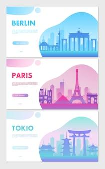 Concetti web di paesaggi urbani del fumetto che viaggiano simboli della città di parigi, berlino, tokyo e corea del sud