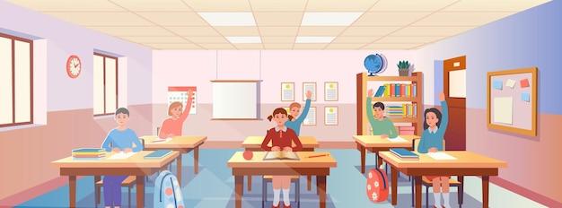 Interiore dell'aula del fumetto con vista sui banchi di scuola con porta e finestra della libreria dei bambini.