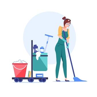 Personaggio dei dipendenti dell'impresa di pulizie dei cartoni animati al lavoro.
