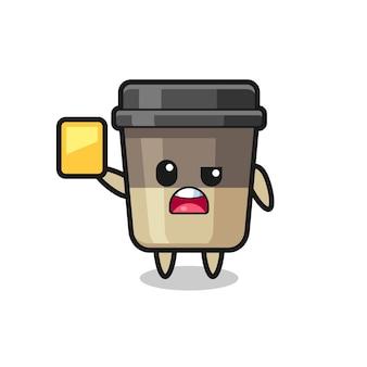 Personaggio dei cartoni animati della tazza di caffè come un arbitro di calcio che dà un cartellino giallo, un design in stile carino per maglietta, adesivo, elemento logo