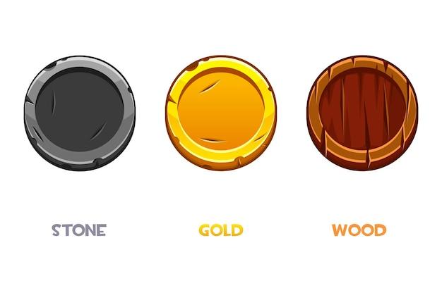 Cartoon monete d'oro, pietra, legno, modelli di denaro rotondi per il gioco.