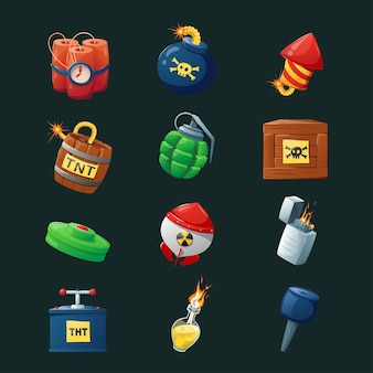 Bombe da collezione di cartoni animati per l'interfaccia di gioco.
