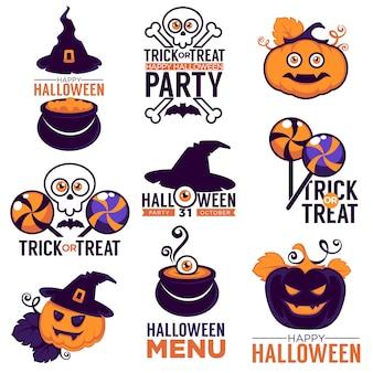 Collezione di cartoni animati di logo, adesivi e icone luminosi con composizione scritta per la tua festa di halloween Vettore Premium