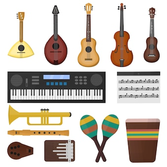 Collezione di cartoni animati con diversi tipi di strumenti musicali su sfondo bianco. concetto di musica.