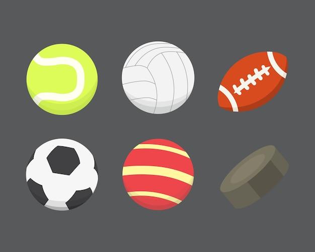 Cartone animato palla colorata insieme. icone di palle di sport isolate.