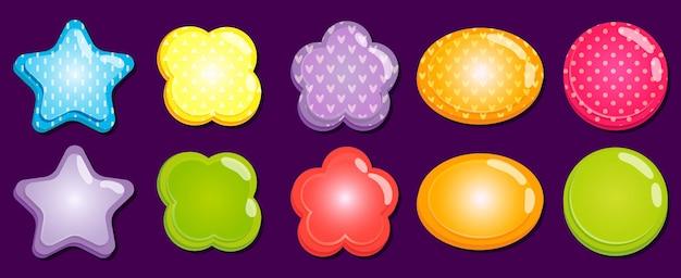 Cornici colorate di cartoni animati di diverse forme come stella, fiore, ellisse e cerchio con piccoli cuori, triangoli, strisce e punti. oggetti lucidi con posto per l'illustrazione vettoriale del set di testo