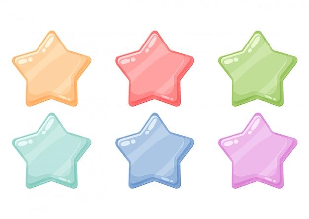 Icone lucenti stelle lucenti colorate dei cartoni animati
