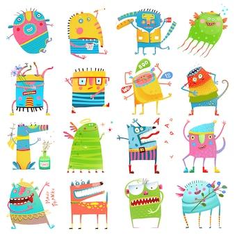 Cartoon big monsters for kids grande collezione Vettore Premium