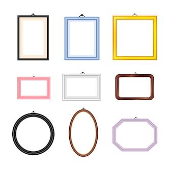Cornici colorate per foto dei cartoni animati set rettangolare ovale e quadrato square