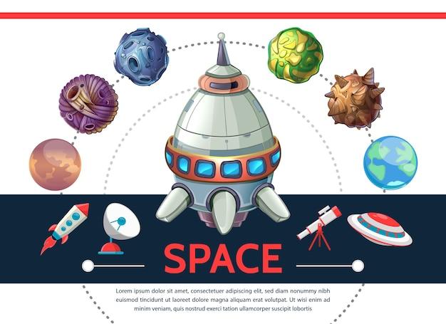 Modello di spazio colorato del fumetto con telescopio parabolica satellitare ufo pianeti asteroidi razzo navetta